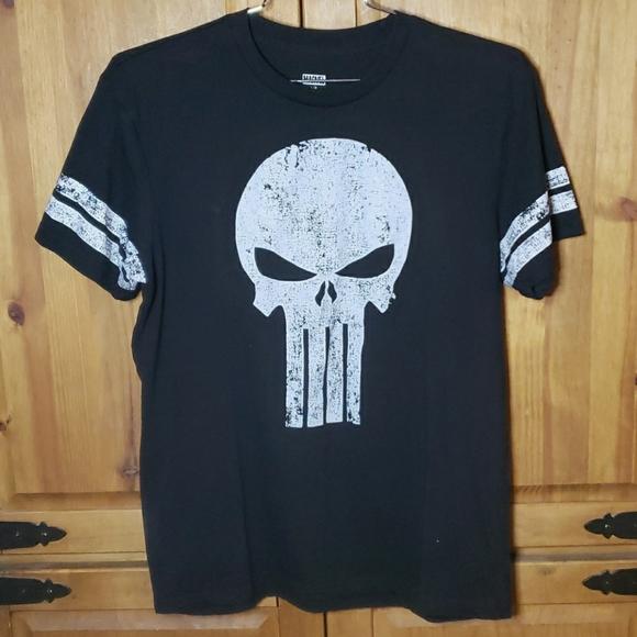 Marvel Punisher Mens Stripe Sleeve T-Shirt